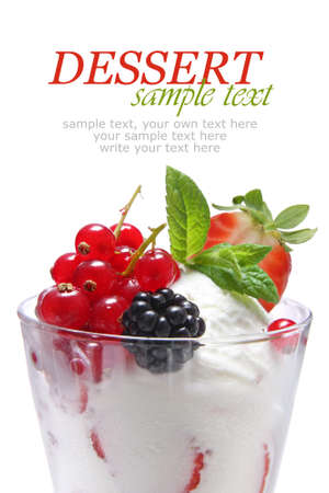 ice cream glass: Ice cream dessert with fruits