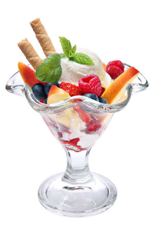 Ice cream with fruits photo