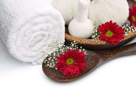 day spa: Spa massage border with towel, herbal compress balls and flowers