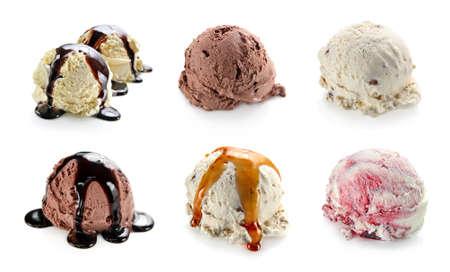 helado de chocolate: Bolas de helado del collage Foto de archivo