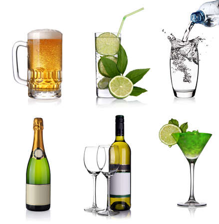 Beverages collage with glass of beer, cocktails, a bottle of champagne, wine and water photo