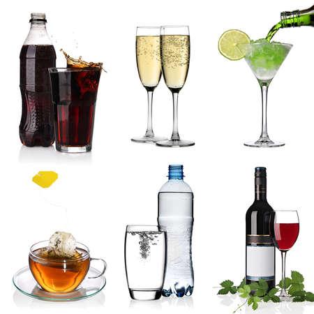 bebidas alcohÓlicas: Bebidas collage con cola, cóctel, el agua, una taza de té, copas de champaña y vino tinto Foto de archivo