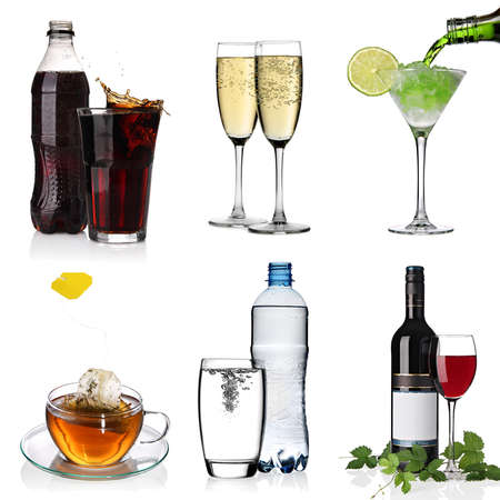 alcoholic drinks: Beverages collage with cola, cocktail, water, cup of tea, glasses of champagne and red wine