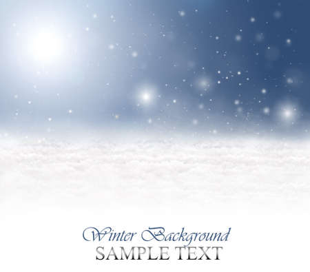 backgrounds: Winter background with snow, snowflakes, sunshine and a blue sky