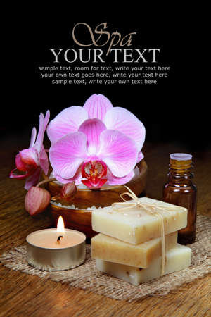 Spa aromatherapy and natural soap bar with orchids Stock Photo