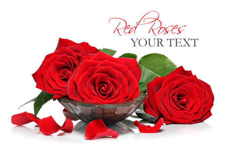 luxery: Red roses and petals in a wooden spa bowl