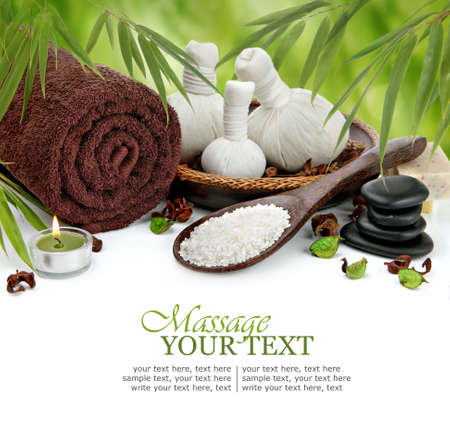 day spa: Spa massage border background with towel, compress balls and bamboo