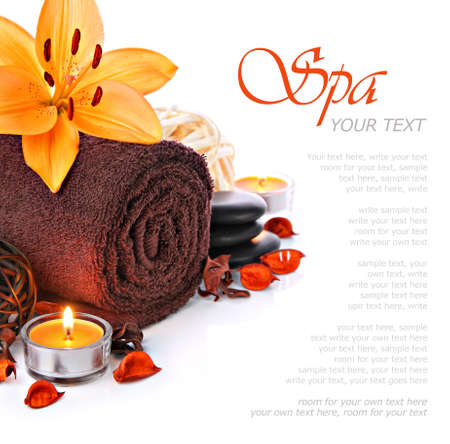 day spa: Spa massage border with towel and orange lily flower