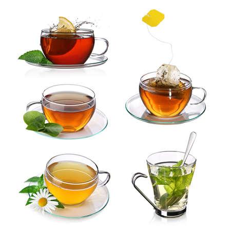 de hierbas: Collage de t� con tazas de t� de vidrio