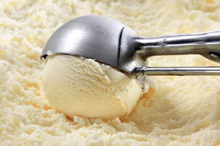 Vanilla ice cream and utensil Stock Photo