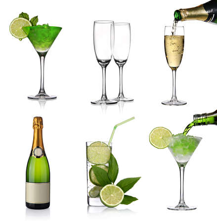 Alcoholic drinks collage with champagne and cocktails photo