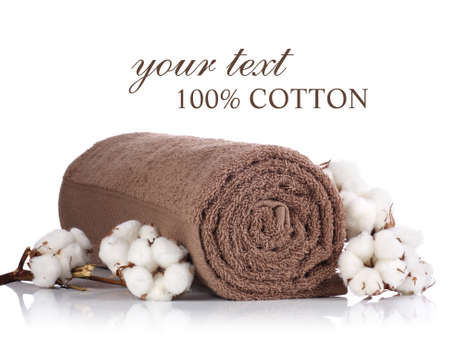 Rolled towel with branches of cotton Standard-Bild