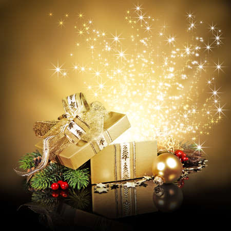 gold gift box: Golden surprise gift box with sparkling stars