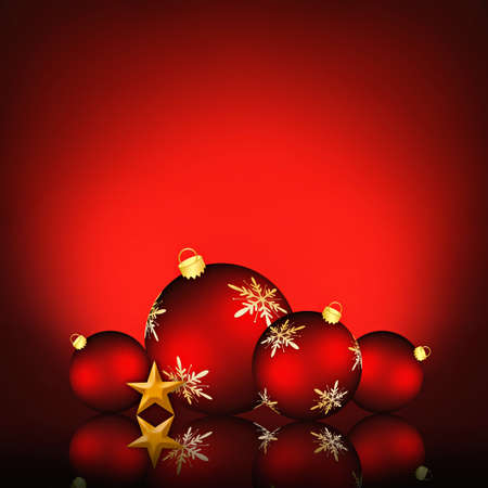 Christmas background illustration with red snowflake baubles