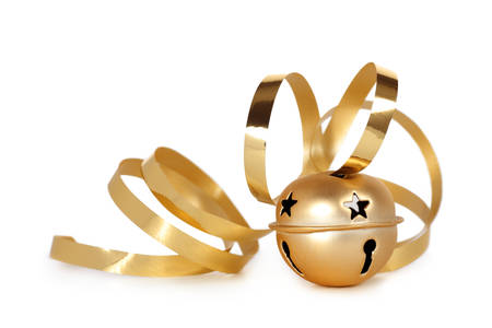 Golden jingle bell with curled ribbon Фото со стока - 33928879