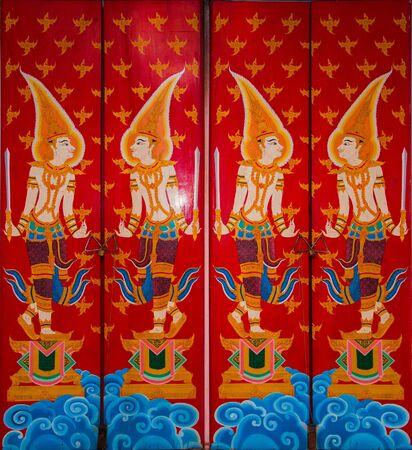 Art of door in temple, Thailand photo