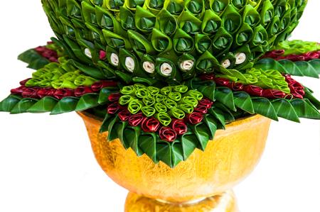 trabajo manual: arte de la hoja de pl�tano, trabajo hecho a mano de estilo tailand�s Foto de archivo
