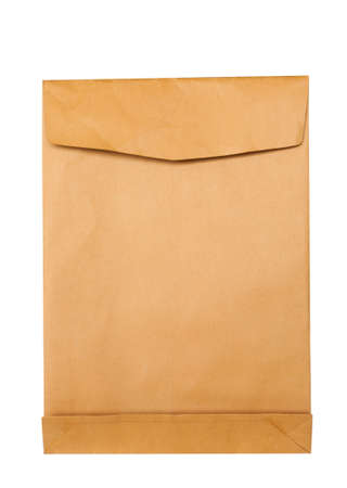 Blank brown paper envelope isolated on white background photo
