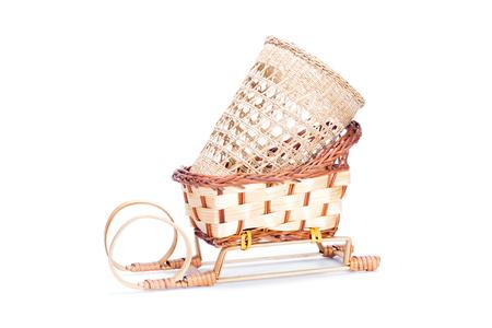 wickerwork: empty wicker basket isolated Stock Photo