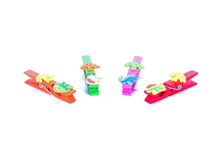 clamps: colourful Wooden clamps isolate on white background