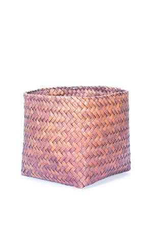 empty wicker basket isolated photo
