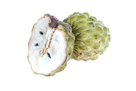 sweetsop: Sugar Apple (custard apple, Annona, sweetsop) su sfondo bianco Archivio Fotografico