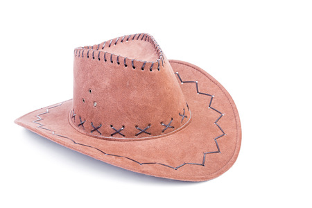 brown leather hat: Brown cowboy leather hat isolated over white with clipping path.