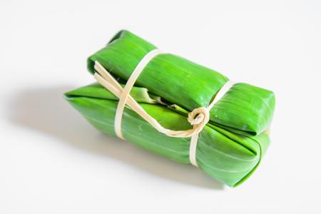 mush: Bunch of mush ,Thai dessert style which insert banana and black Peas inside to sticky rice