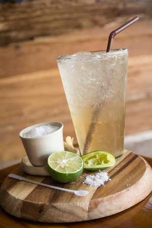 alcoholic drink: Refreshing Lemon and Lime Soda in a Glass Stock Photo