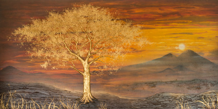 fantasy forest: Loei, Thailand October 4 : art Landscape Nice fantasy Forest in a golden tree on wall in hotel, Phurua, Loei, Thailand. Photography on October 4, 2015. .
