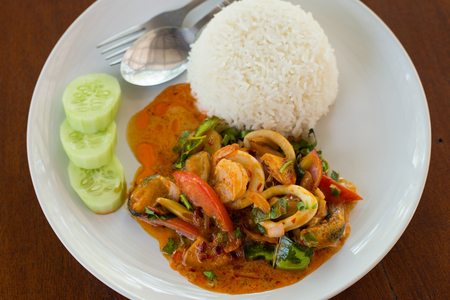 gung: Thai style food, Tom yum seafood and rice Stock Photo