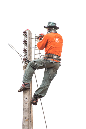 lineman: electrician overalls working at height and dangerous