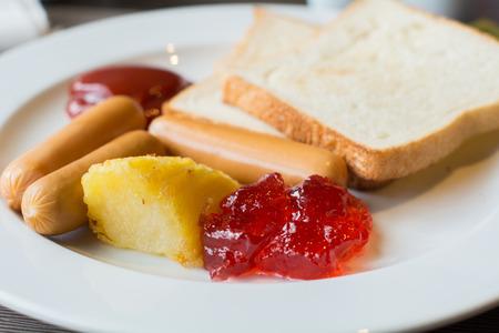 uk cuisine: English breakfast set , American breakfast set Stock Photo
