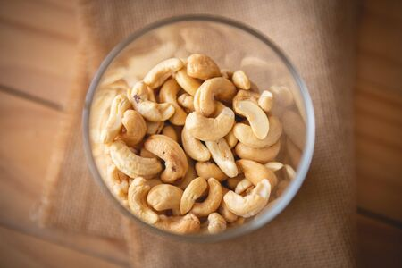 Cashew nuts baked salt Nutritious and nourishing the brain Stock Photo