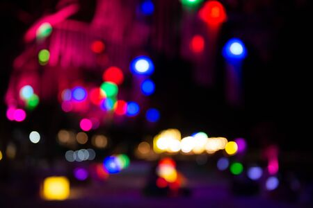 Beautiful bokeh lights at night