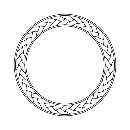trenza celta ornamento del marco circular sobre un fondo blanco