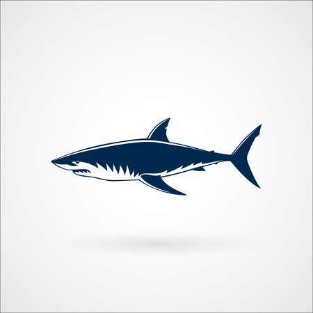 great white: Great white shark sign emblem illustration on white background