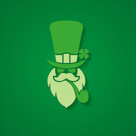 St. Patricks Day leprechaun green background badge emblem sign illustration Illustration