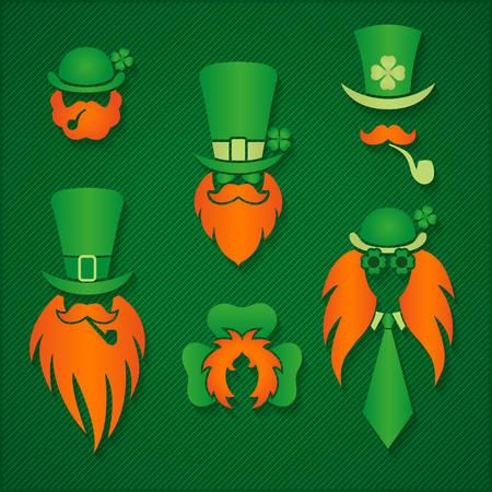 Ieren in hoeden kabouter tekent St. Patrick Day illustratie Stock Illustratie