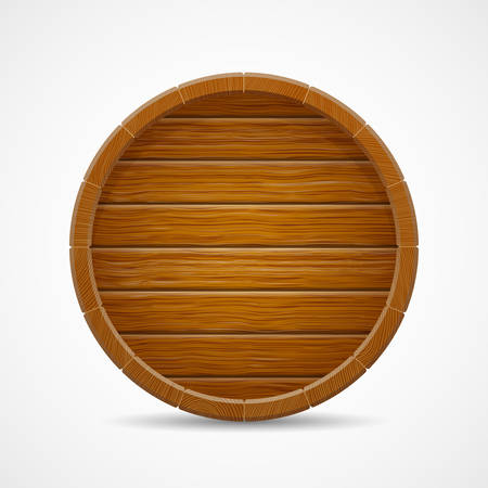 wooden barrel end top vector background isolated