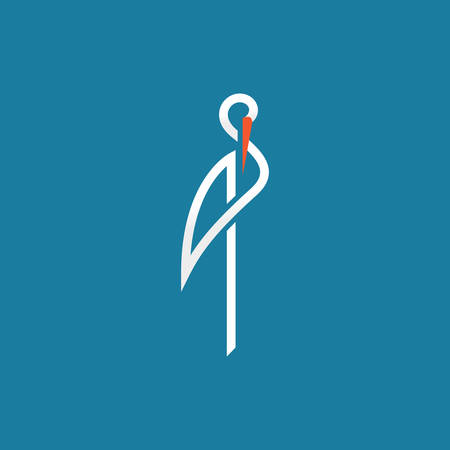 stork sign on blue background line vector illustration
