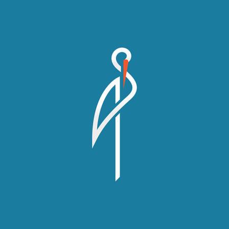 stork sign on blue background line vector illustration