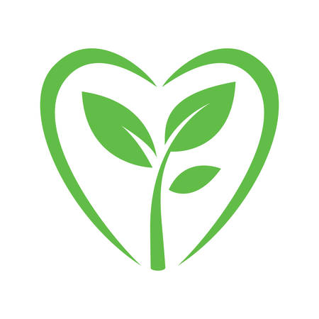 vernal: green sprout heart sign vector illustranion on white background Illustration