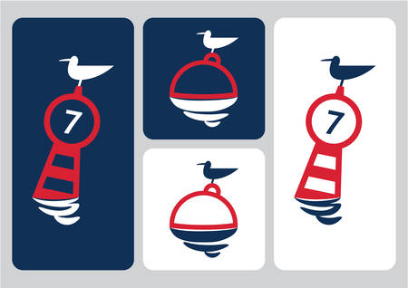 laconic: seagull on buoy laconic vector illustration blue red white