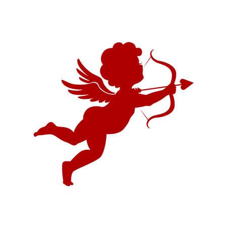 angeles bebe: Cupido tiro silueta sobre fondo blanco ilustración vectorial Vectores