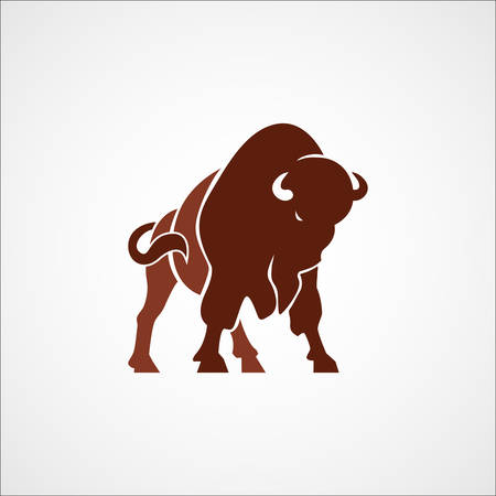 bison: aggressive bison buffalo sign emblem isolated vector illustration Illustration