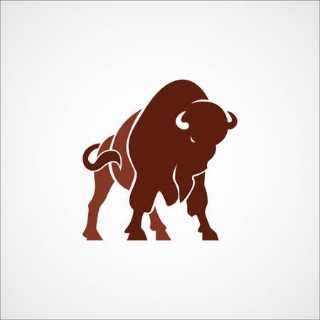 animals horned: aggressive bison buffalo sign emblem isolated vector illustration Illustration