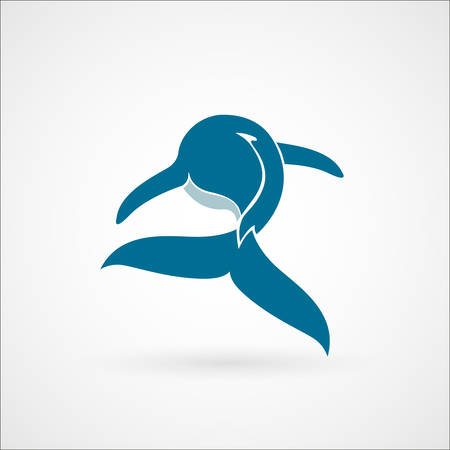 blauwe vinvis teken embleem op een witte achtergrond