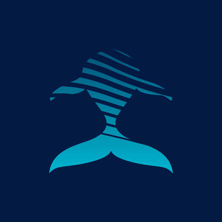 Blauwe walvisstrips teken op een donkere achtergrond