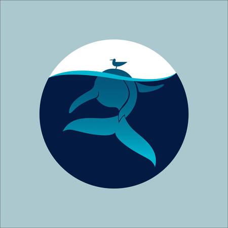 ballena azul: ballena azul con el signo de gaviota ilustraci�n vectorial emblema